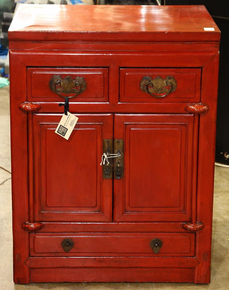 Chinese Red Lacquered Cabinets Bats