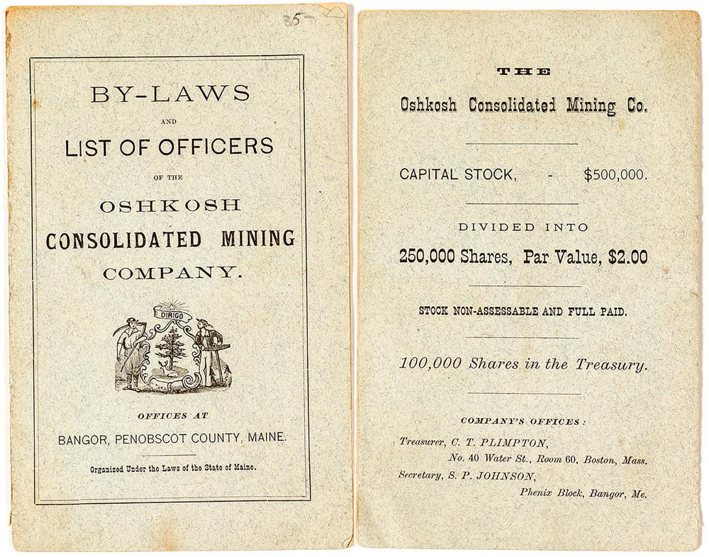 By-Laws & List of Officers of the Oshkosh Cons  Mining Company