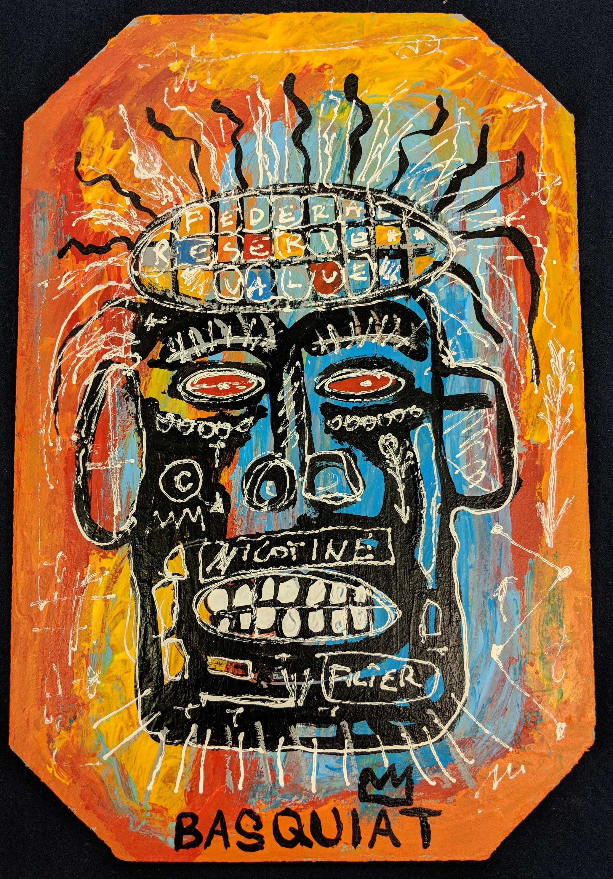 Large Postcard Artwork in the Style of Jean Michel Basquiat