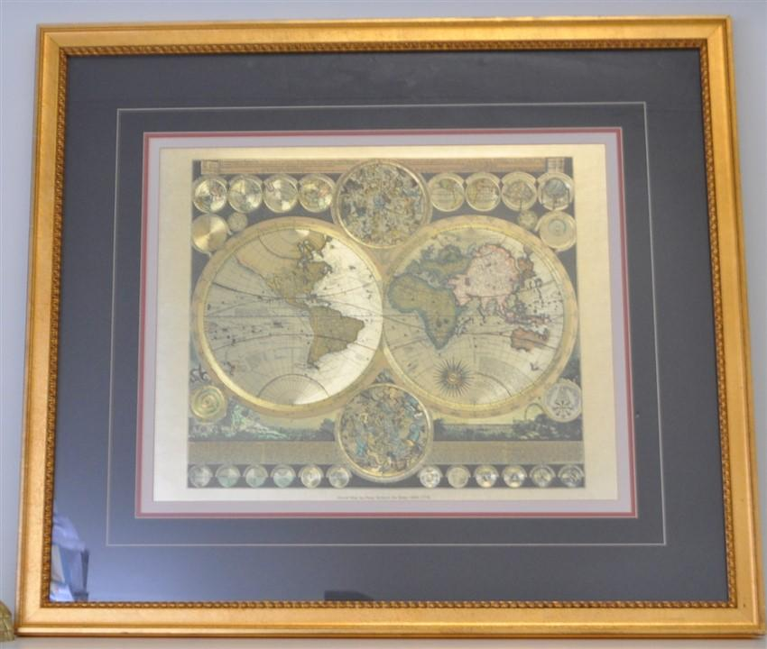 World Map By Peter Schenk The Elder.Framed World Map Peter Schenk The Elder 1645 1715