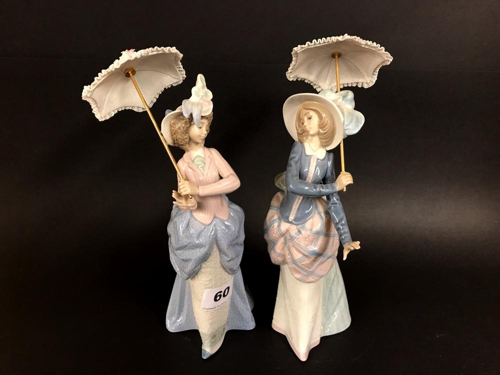 Two Lladro Figures Of Lady S With Parasol H 13cm One Ist Quality