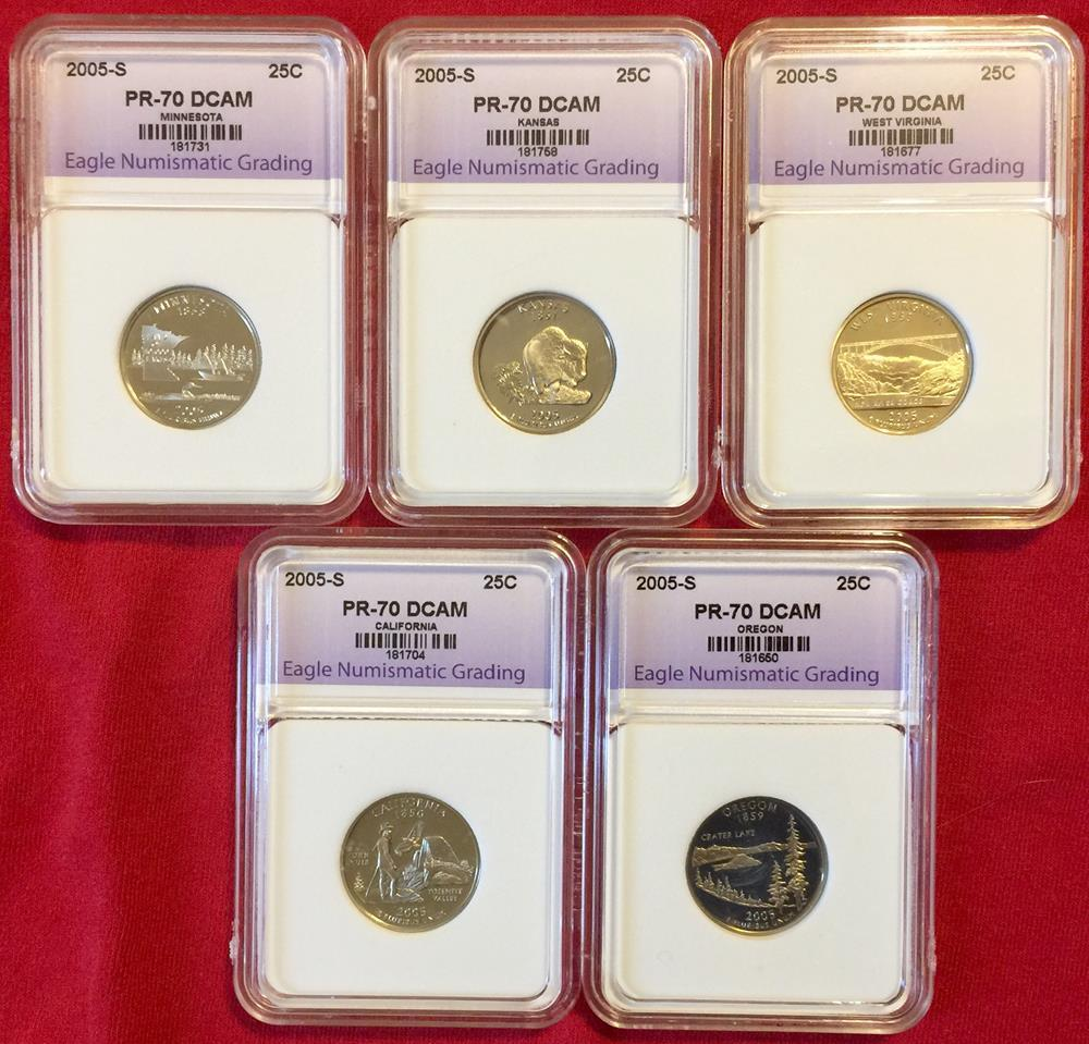 1999-2005 State Silver Quarter Collection Boxed & Graded PR70 Deep Cameo