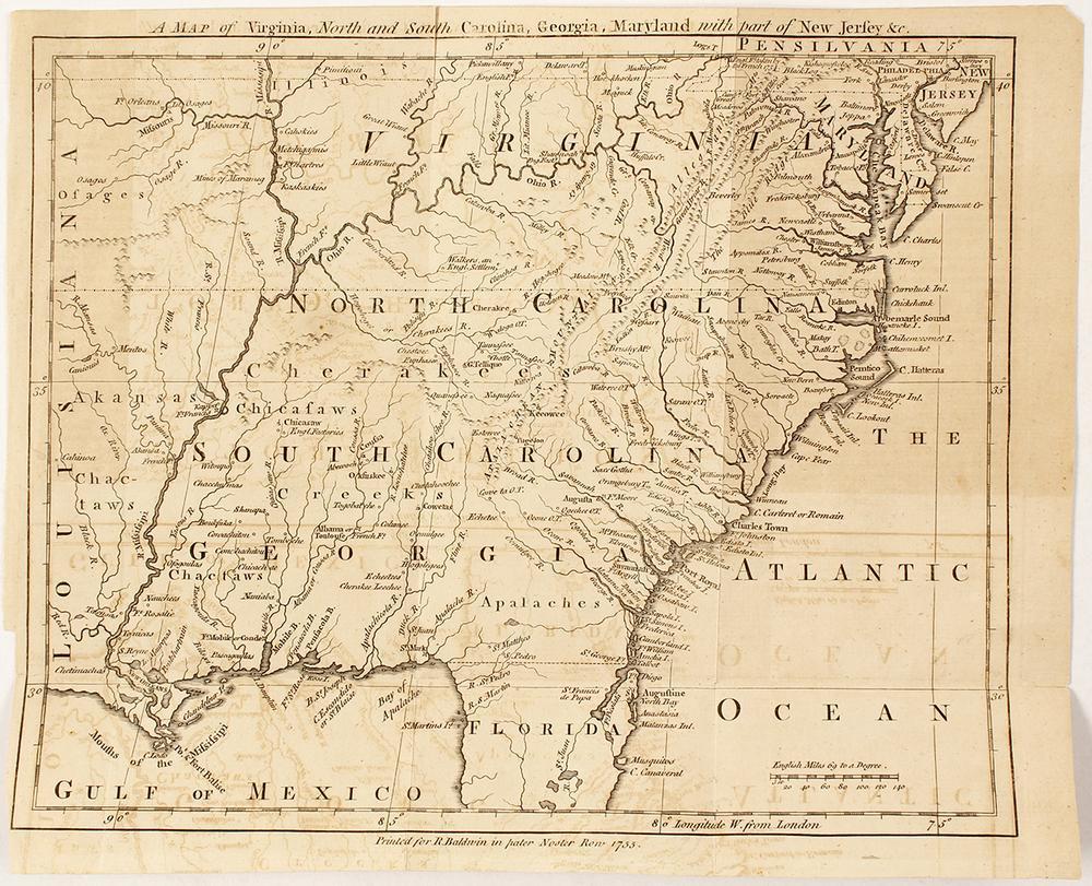 Map Of Virginia Coastal Towns.1755 Georgia Virginia Carolina Maryland Etc Map Lofty Marketplace
