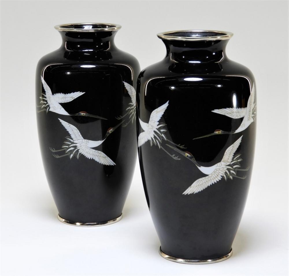 PR Japanese Sato Cloisonne Silver Wire Crane Vases – Lofty Marketplace