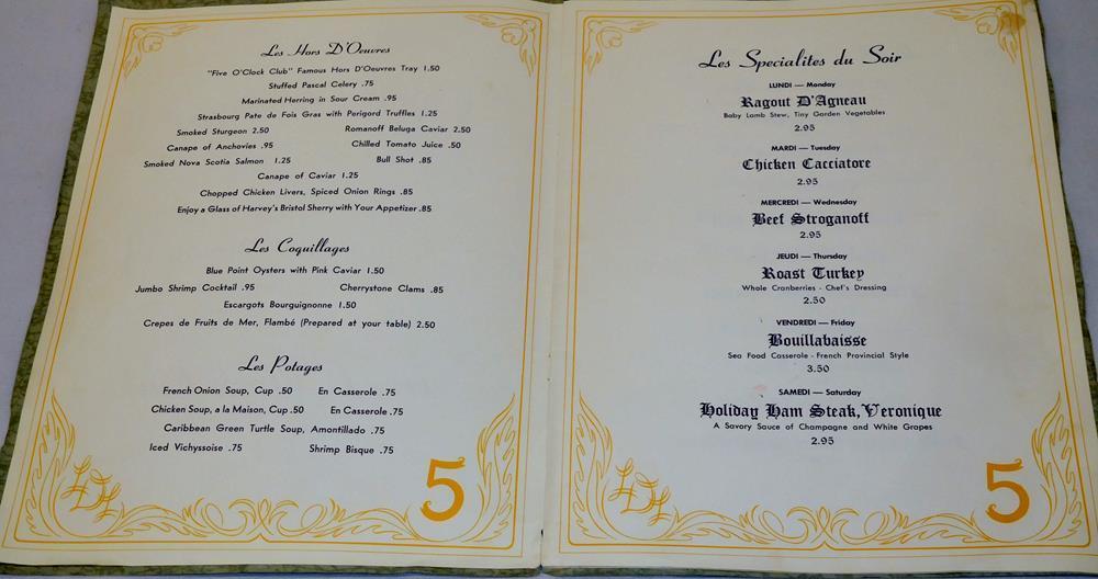 Vintage Five Oclock Club Art Deco Velvet Cover Continental Dining