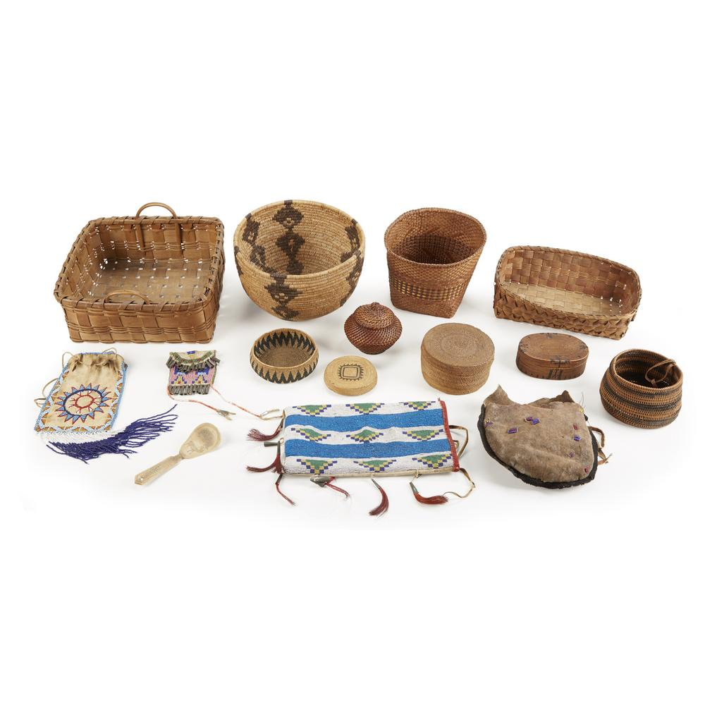 Collection Of Native American Baskets And Beadwork Bags Together With Lofty Marketplace