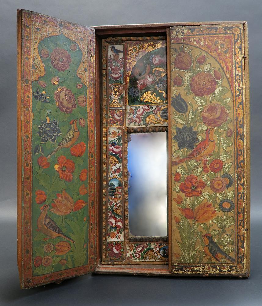 19th c persian qajar painted mirror cabinet panels lofty marketplace