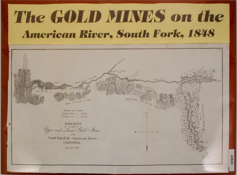 1848 Gold Rush Map of American River Claims – Lofty Marketplace California Gold Claims Map on
