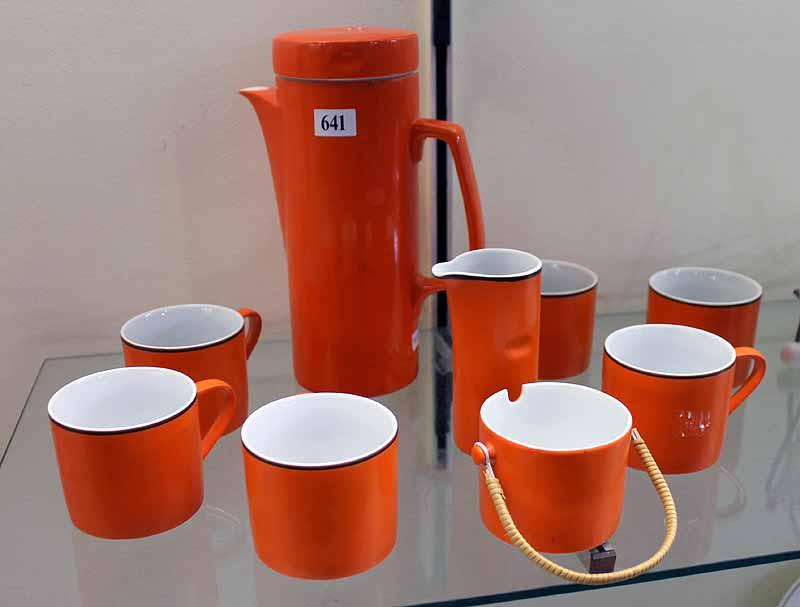 A RETRO ORANGE KELCO JAPAN FINE PORCELAIN PART COFFEE SET