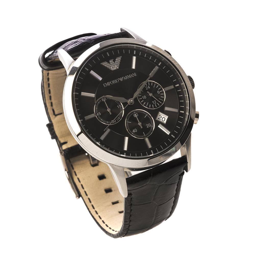 2ea0ae894e72 Reloj. Emporio Armani. Movimiento de cuarzo. Caja circular de 42 mm. Ø en  acero con carátula negra. Pulso correa de piel. Peso  58.6 g.