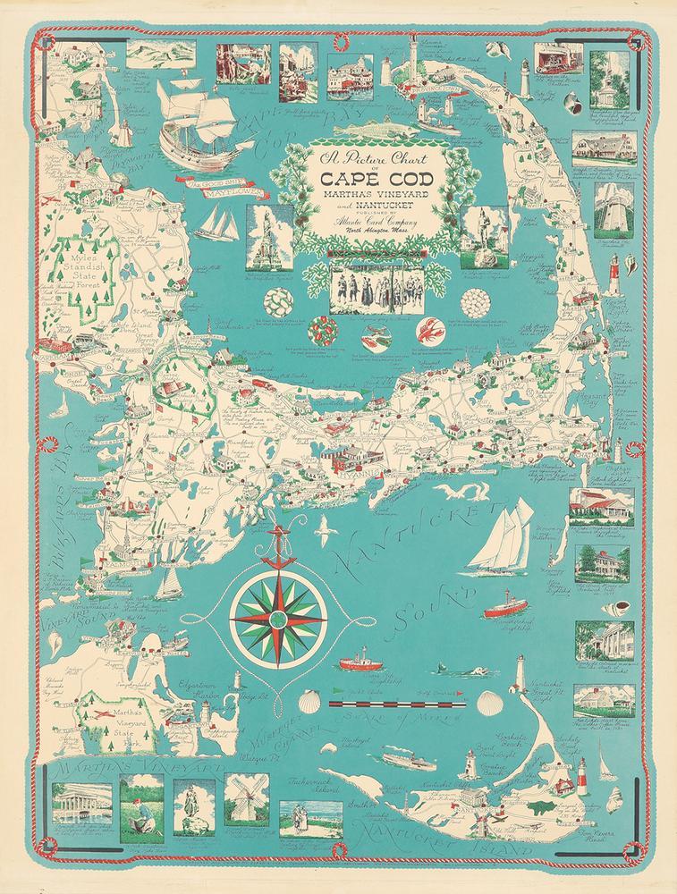 Cape Cod Illustrated Map. 1955. – Lofty Marketplace