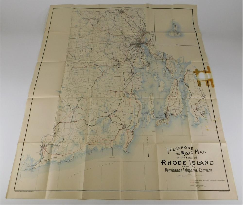 C1908 Rhode Island Telephone Road Map Lofty Marketplace - Us-map-1908