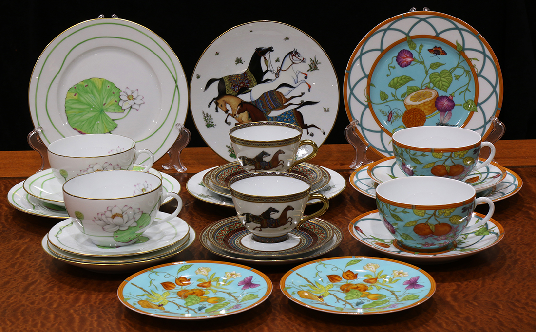 ac9f4e85e5d6 Collection of Hermes china, in a variety of patterns comprising   Cheval  d Orient  consisting of tea cups and saucer...   Clars Auction Gallery