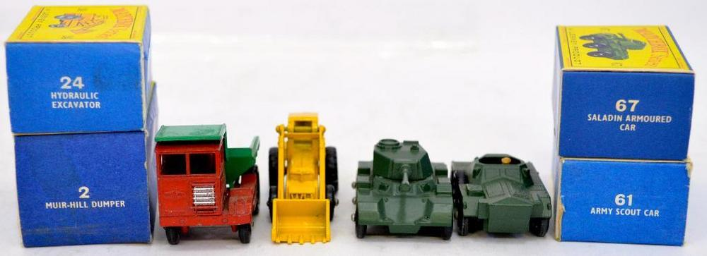 Group of Four Lesney Matchbox cars in D series boxes