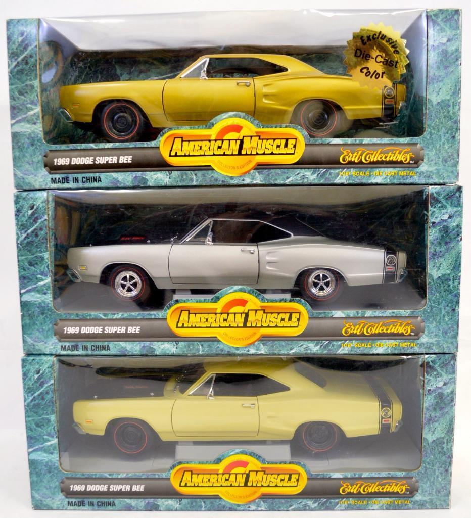 Three Ertl American Muscle 1:18 1969 Dodge Super Bee NMIB