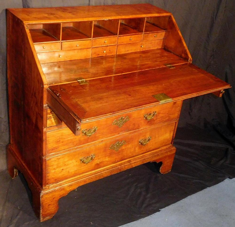 English George III Mahogany Antique Chippendale Slant Front Desk c. 17 –  Lofty Marketplace - English George III Mahogany Antique Chippendale Slant Front Desk C