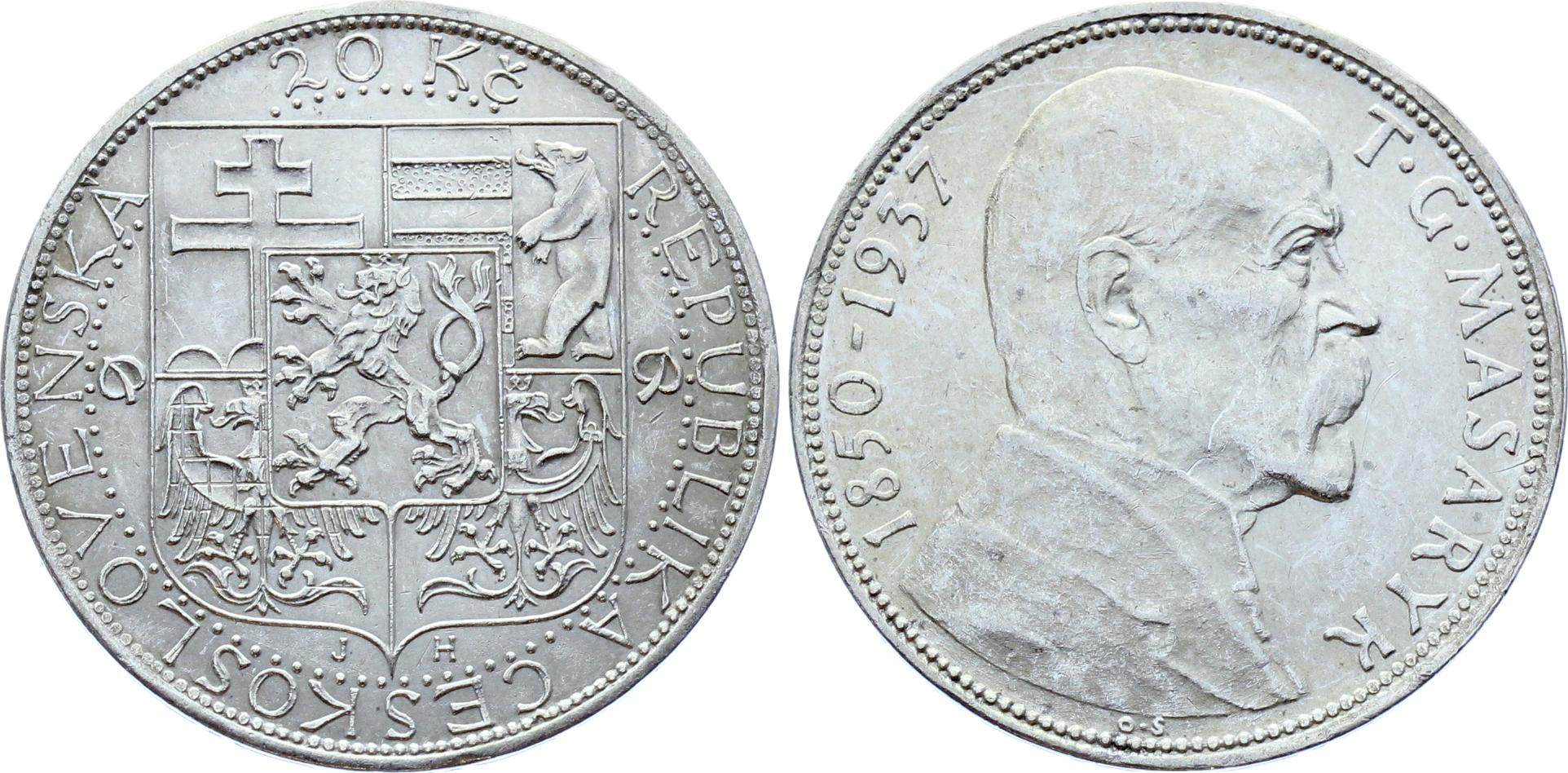 Czechoslovakia 20 Korun 1937 | Katz Coins Notes & Supplies Corp