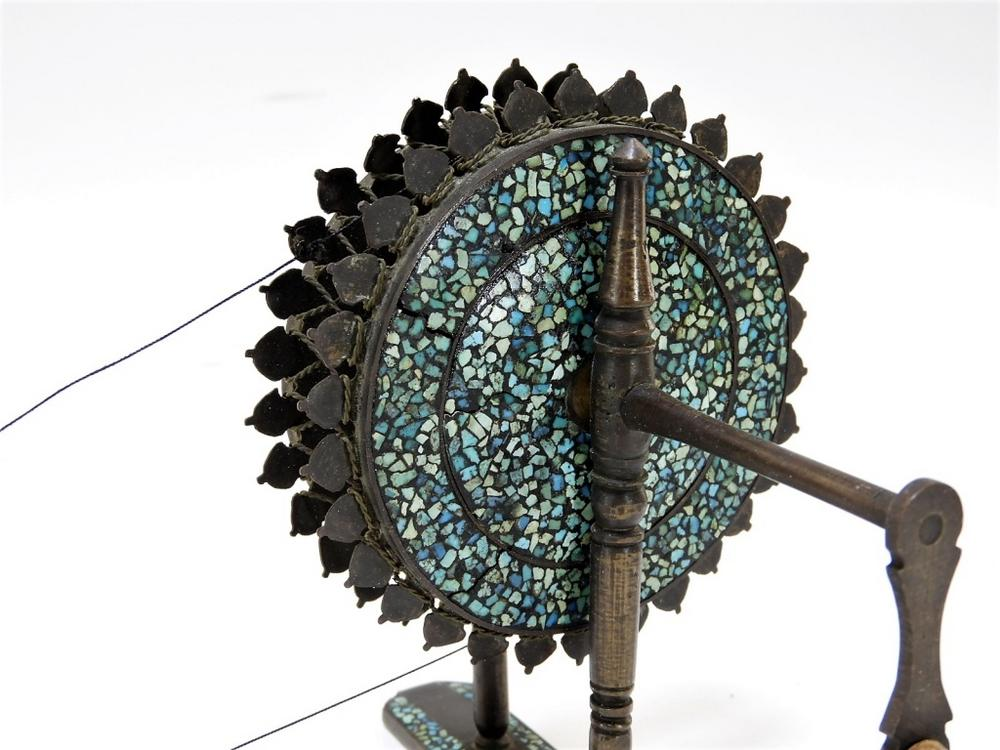 FINE 19C  Indian Bronze Charkha Spinning Wheel