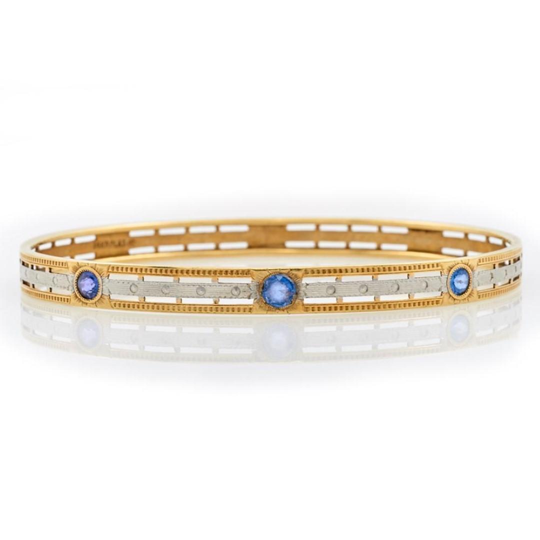 Antique Shire Platinum 14k Gold Bangle Bracelet Turner Auctions And Raisals