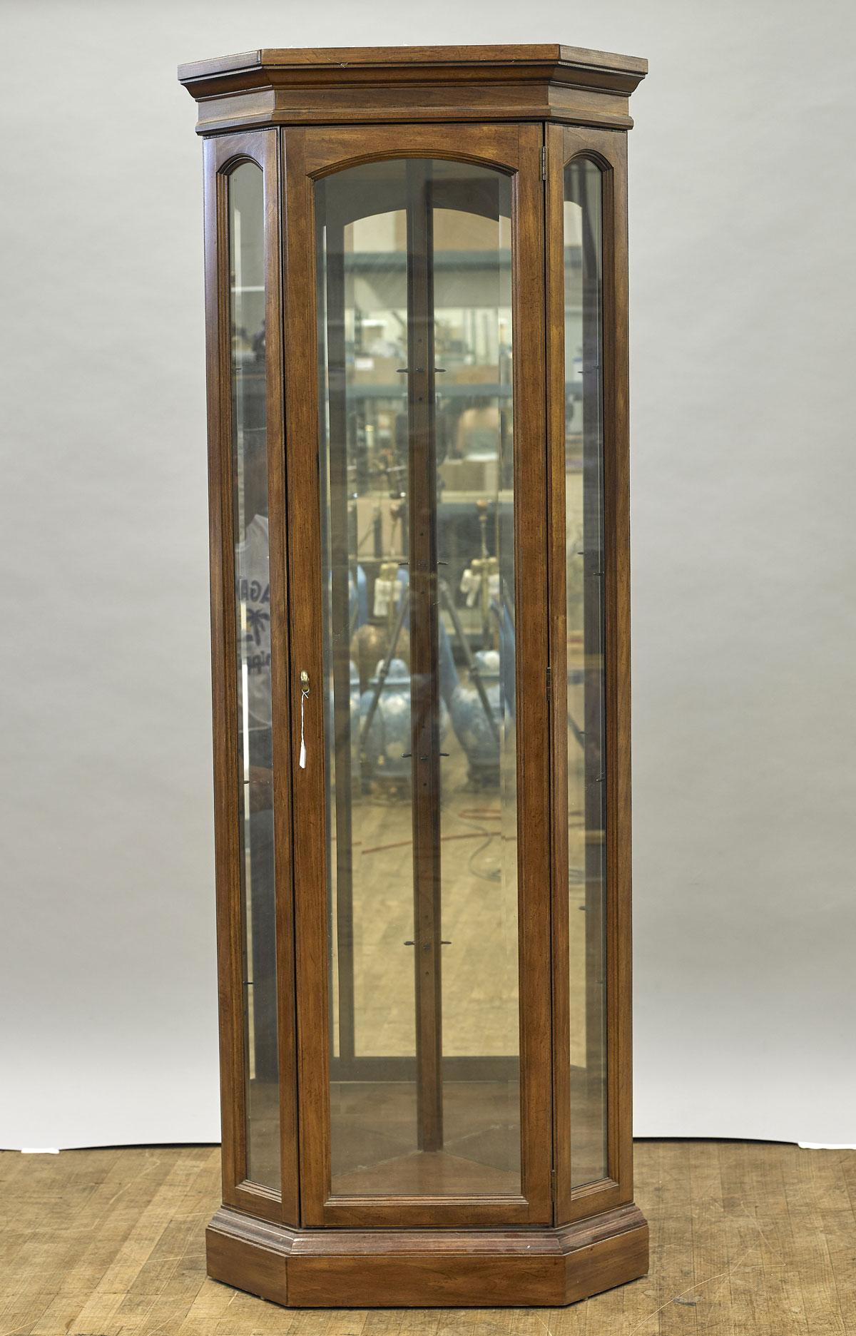 Charmant Wood U0026 Glass Corner Display Cabinet