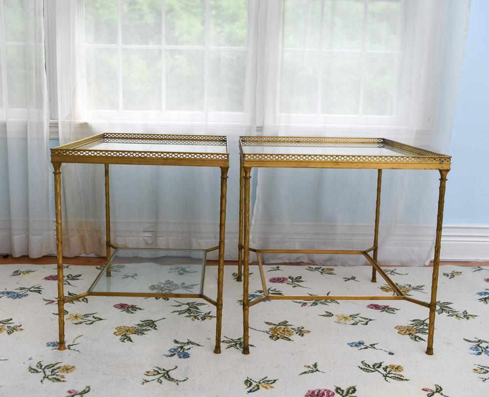 best sneakers 8d1c7 e7daf PAIR OF BRASS & GLASS SIDE TABLES