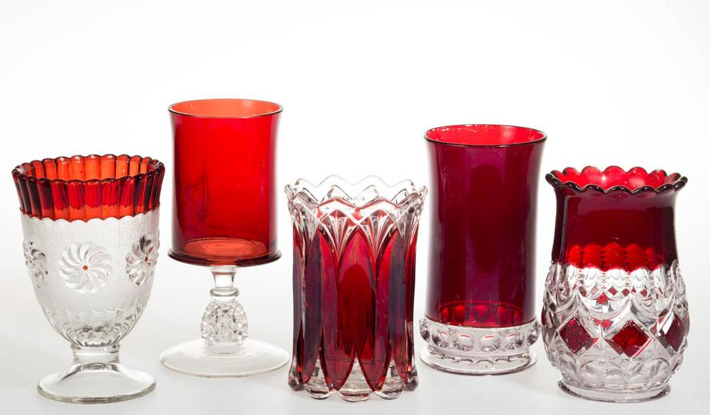 Assorted Eapg Ruby Stained Celery Vases Lot Of Five Lofty