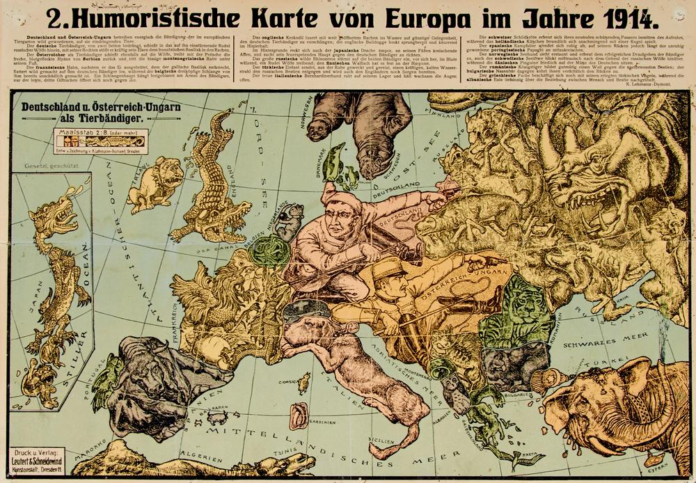 Humoristische Karte Von Europa 1914.Erster Weltkrieg 2 Humoristische Karte Von Europa Im Jahre 1914 Photolithographierte