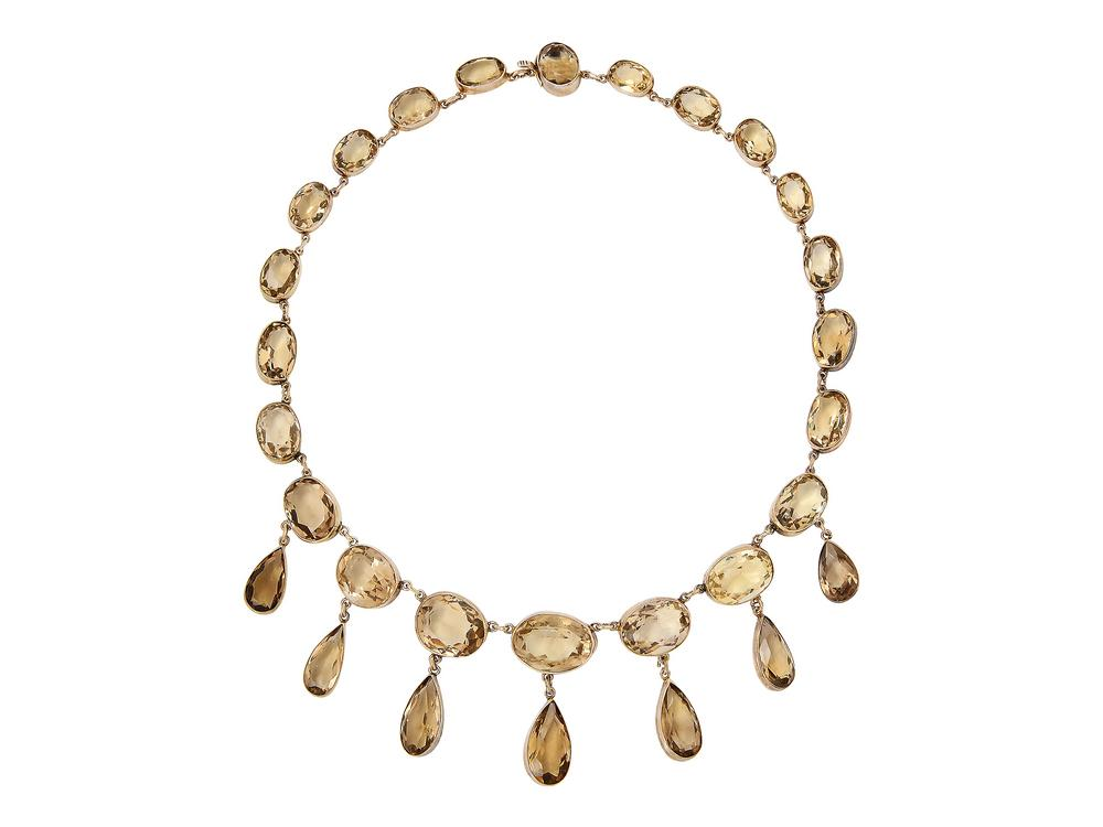 An Antique Citrine And Silver Gilt