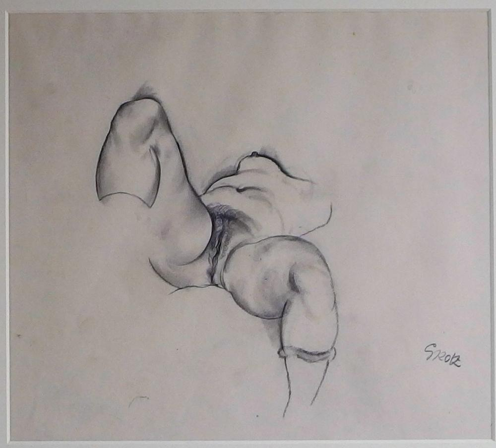 George grosz nude erotic torso pencil drawing lofty marketplace