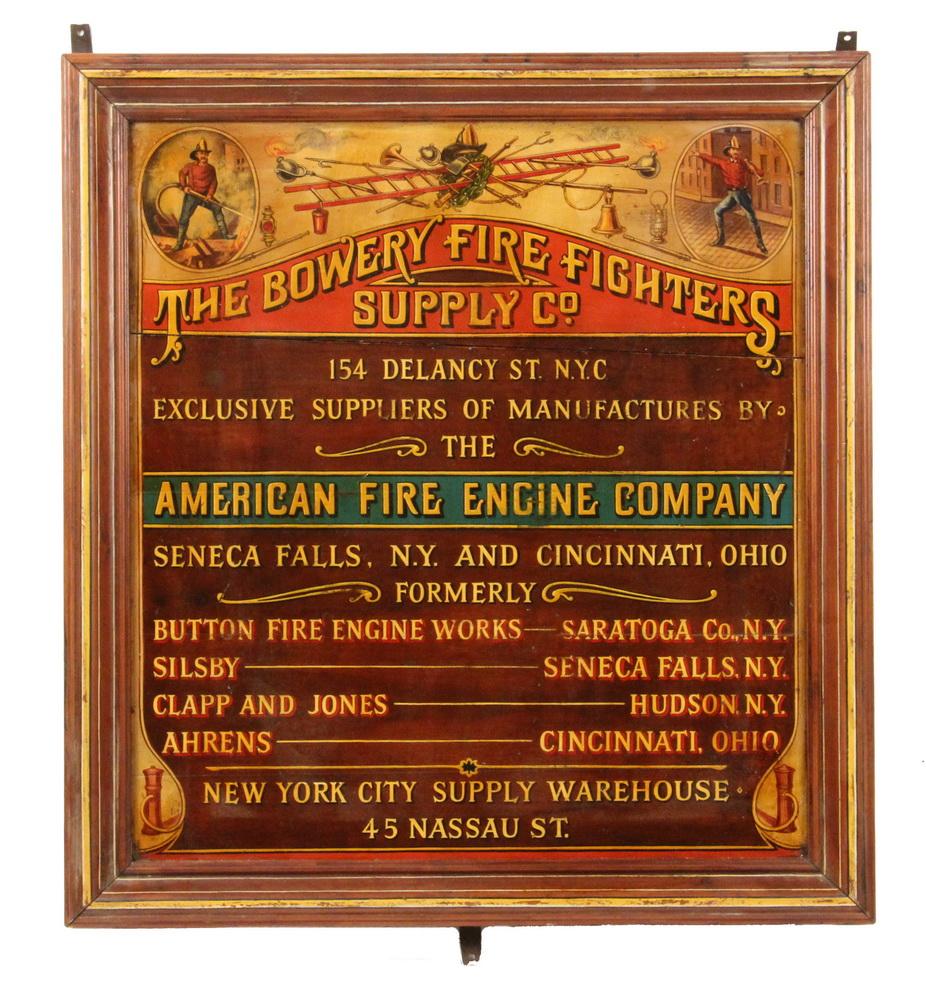 20th C Interior Trade Sign Firefighters Gear Thomaston