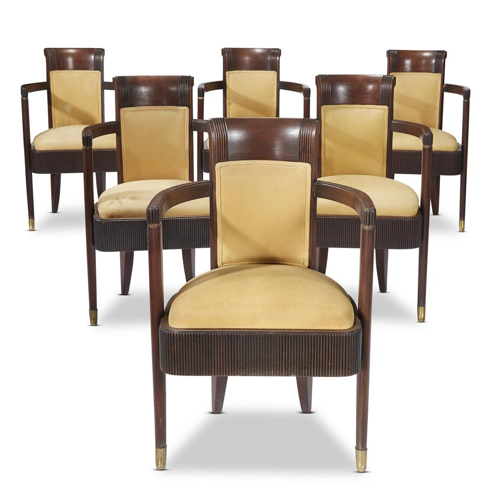 Attractive A set of six Art Deco dining chairs from the S.S. Normandie  TQ67