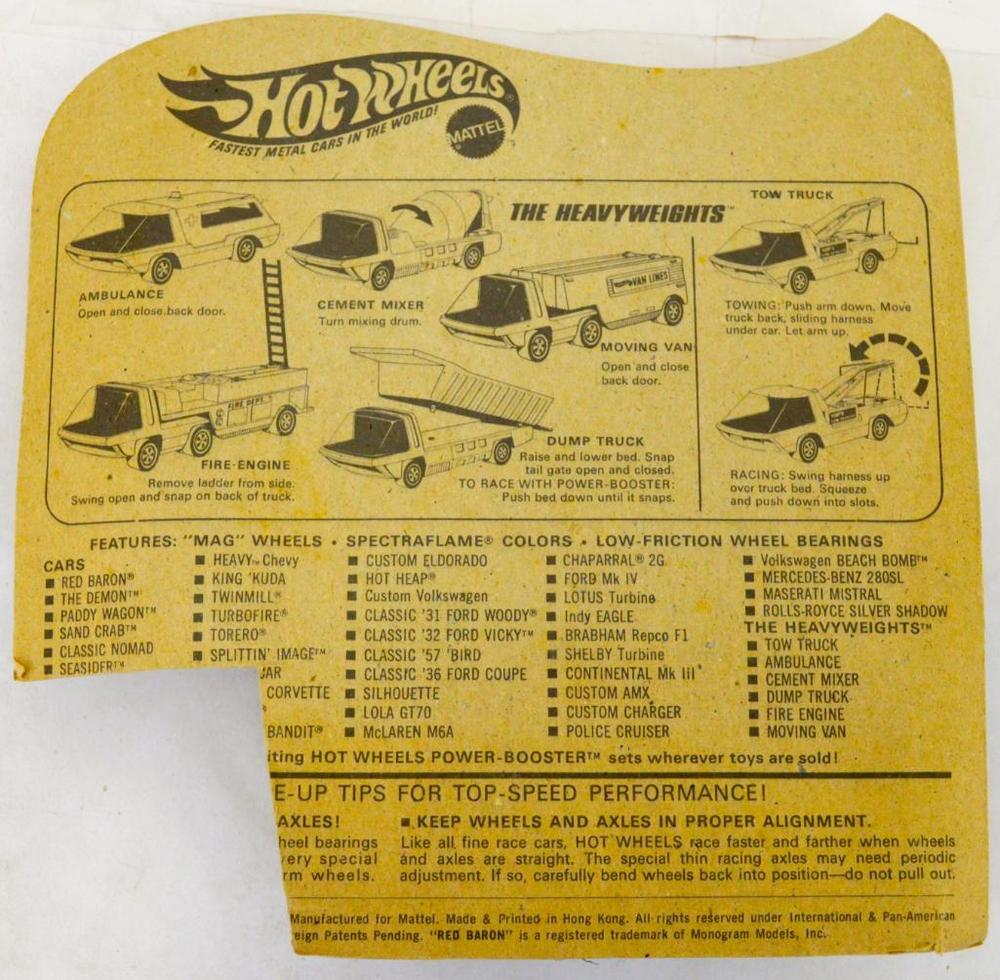 Mattel Redline Hot Wheels Heavyweights Fire Engine mint on blister card
