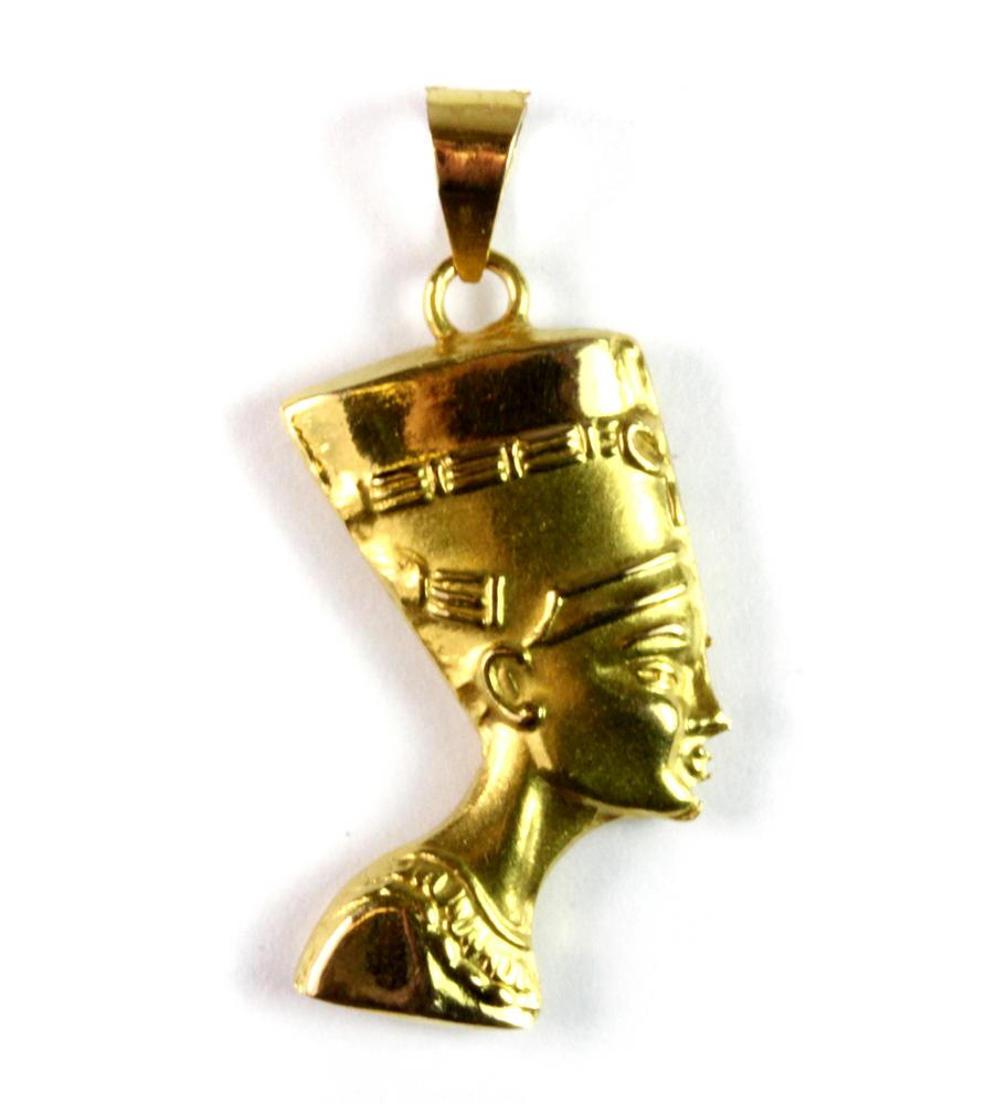 A yellow metal tested 18ct gold nefertiti pendant h 3 cms a yellow metal tested 18ct gold nefertiti pendant h 3 cms mozeypictures