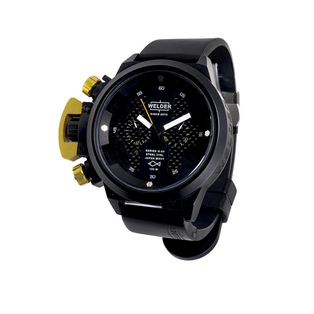 CuarzoCaja RelojWelderMovimiento Negra Caucho Con 3 Y EsferasPulso Carátula De Acero Circular En PukiXZ