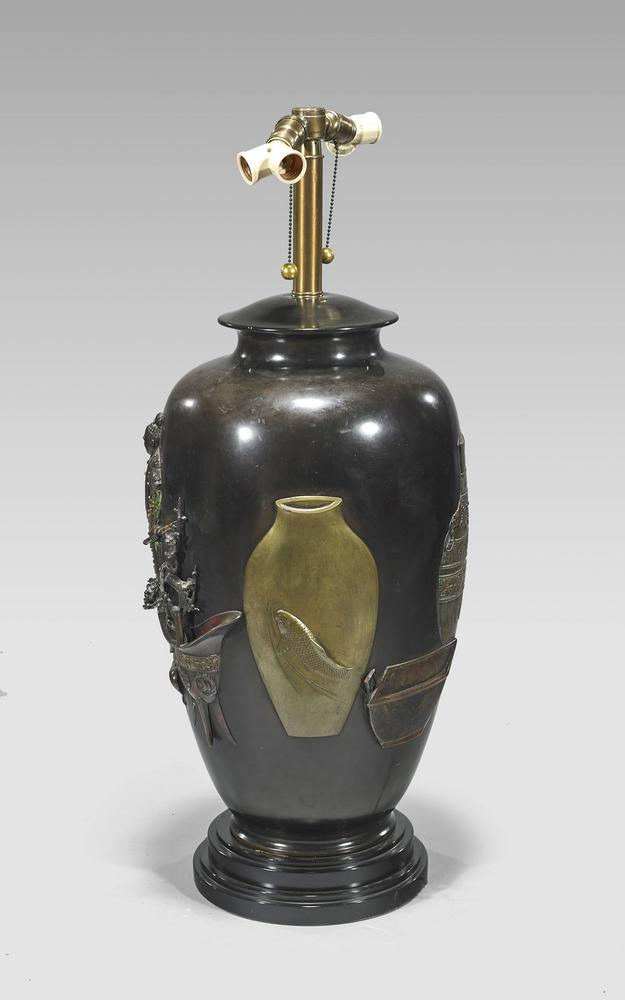 Massive Antique Japanese Bronze Vaselamp Lofty Marketplace