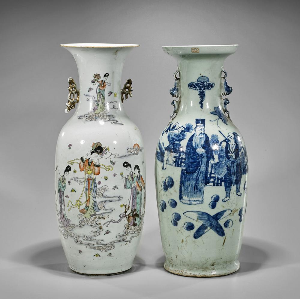 Two antique chinese porcelain vases celestial maidens sages two antique chinese porcelain vases celestial maidens sages floridaeventfo Choice Image