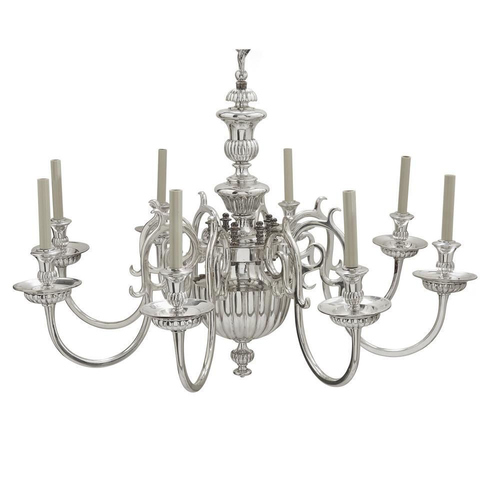 Impressive Silver Plated Eight Light Chandelier First Quarter 20th Ce Lofty Marketplace
