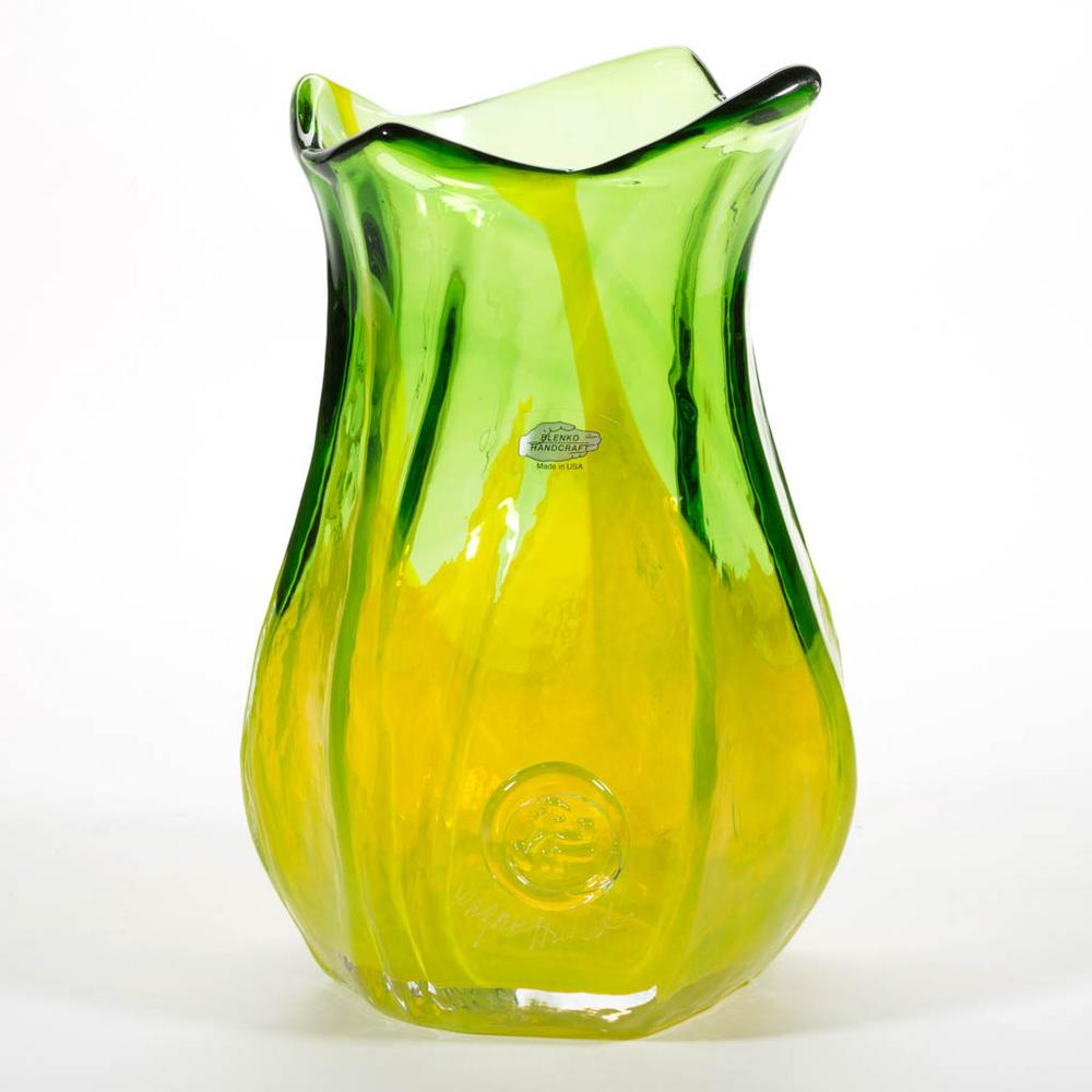 BLENKO GL VARIATIONS SERIES - WAYNE HUSTED DESIGNED MARCH VASE ... on blenko bubble vase, blenko small vase, blenko handmade vase, blenko hourglass vase, blenko amber vase, blenko blue vase, blenko ruffled vase, blenko clear vase, blenko green vase, blenko 1957 19 1 2 vase, blenko amethyst vase, blenko tangerine vase,