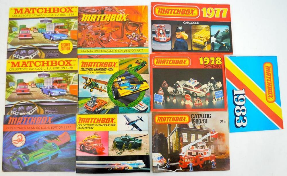 Group of Ten Lesney Matchbox NOS catalogs