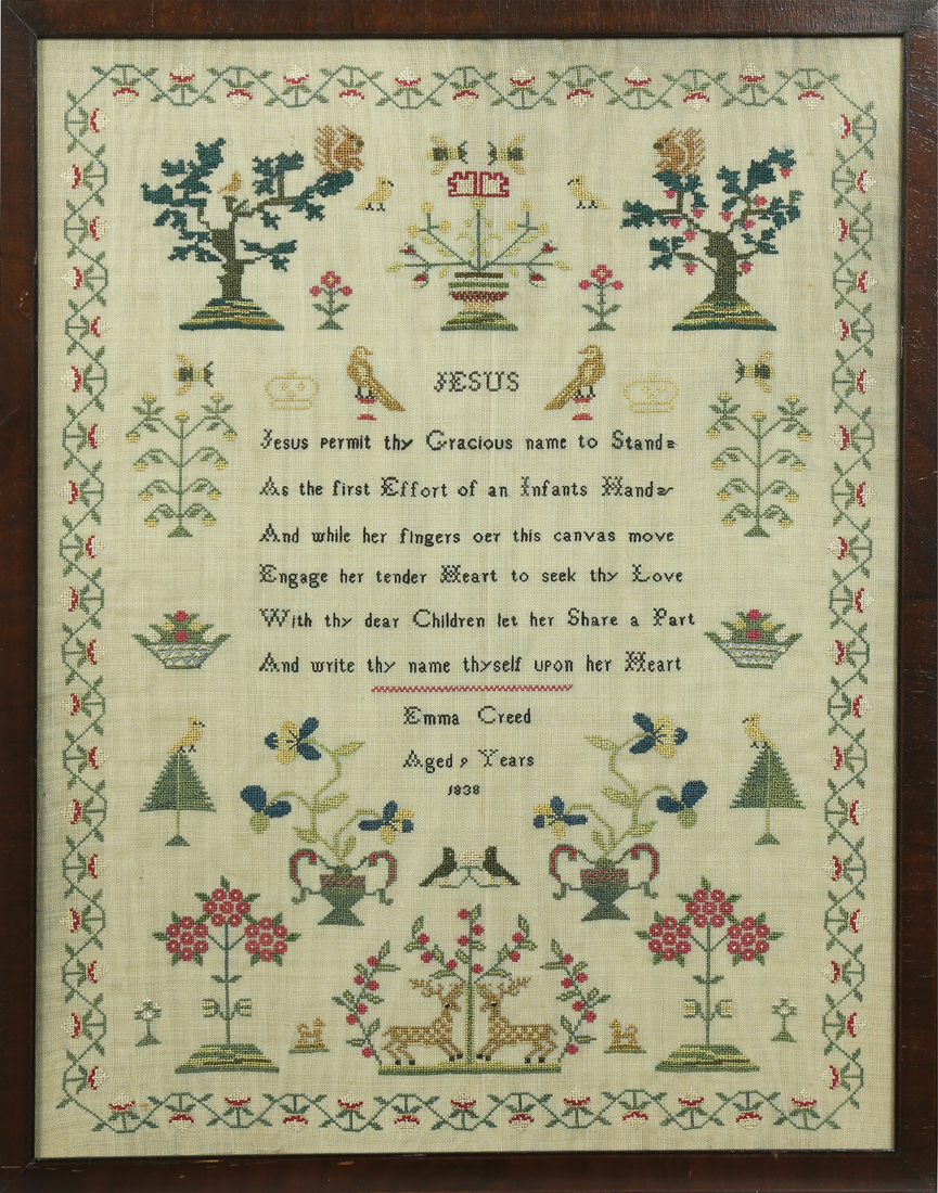 Needlework sampler, executed by Emma Creed in 1838