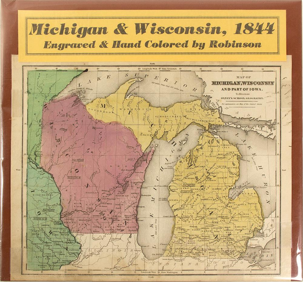 Michigan And Wisconsin Map.Map Of Michigan Wisconsin 1844 Lofty Marketplace