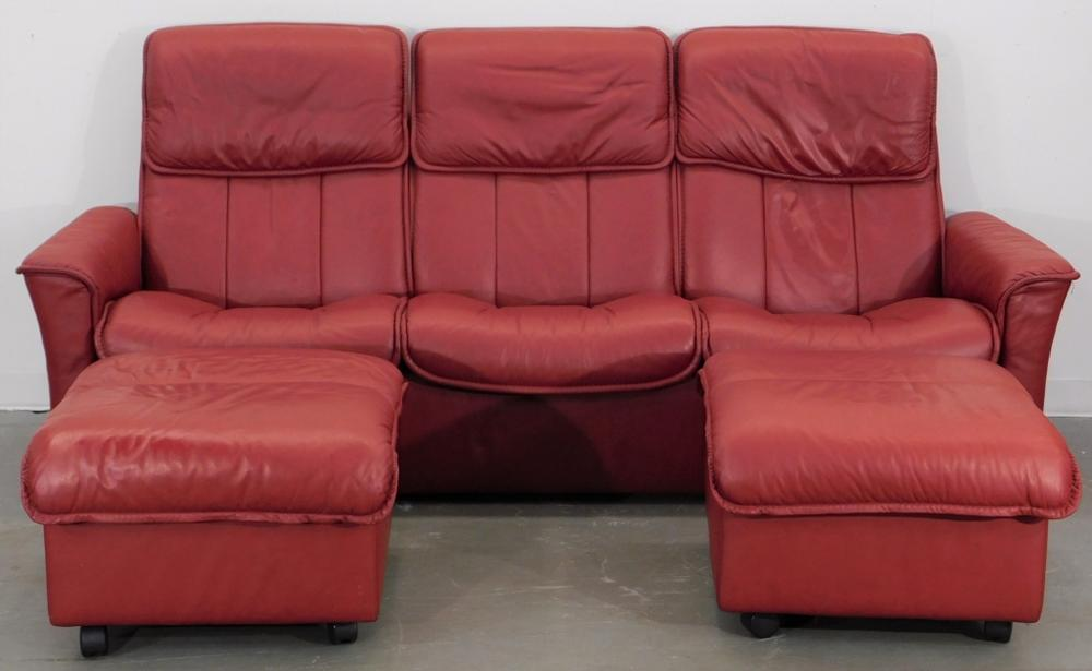 Stressless Red Leather Reclining Sofa and Ottomans