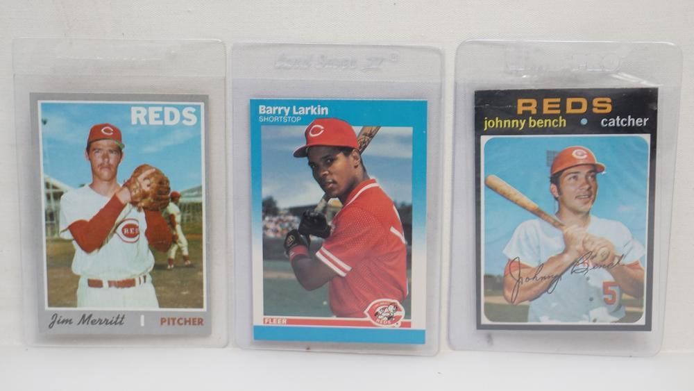 3 Cincinnati Reds Cards Johnny Bench