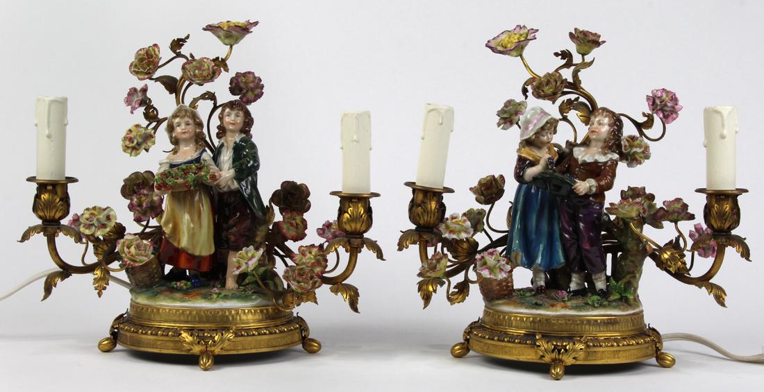 Continental porcelain two light boudoir lamps