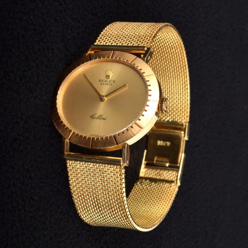 18k Gold Rolex Cellini Vintage Estate Wrist Watch Palm Beach Modern Auctions
