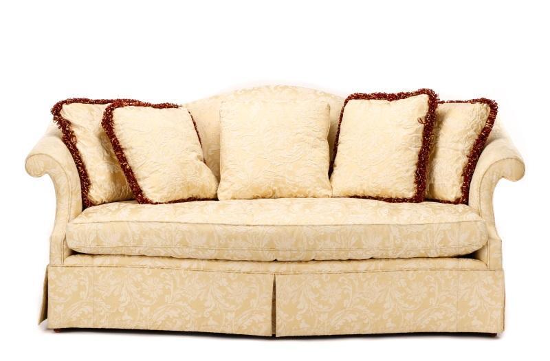 Southwood Upholstered Silk Damask Camelback Sofa