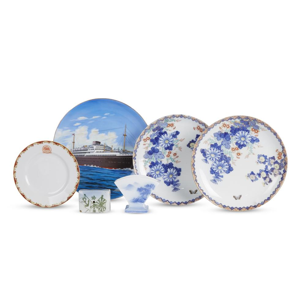 An assembled group of Nippon Yusen Kabushiki Kaisha or NYK Line tablewares  and other Japanese ocean liner porcelain items, various m