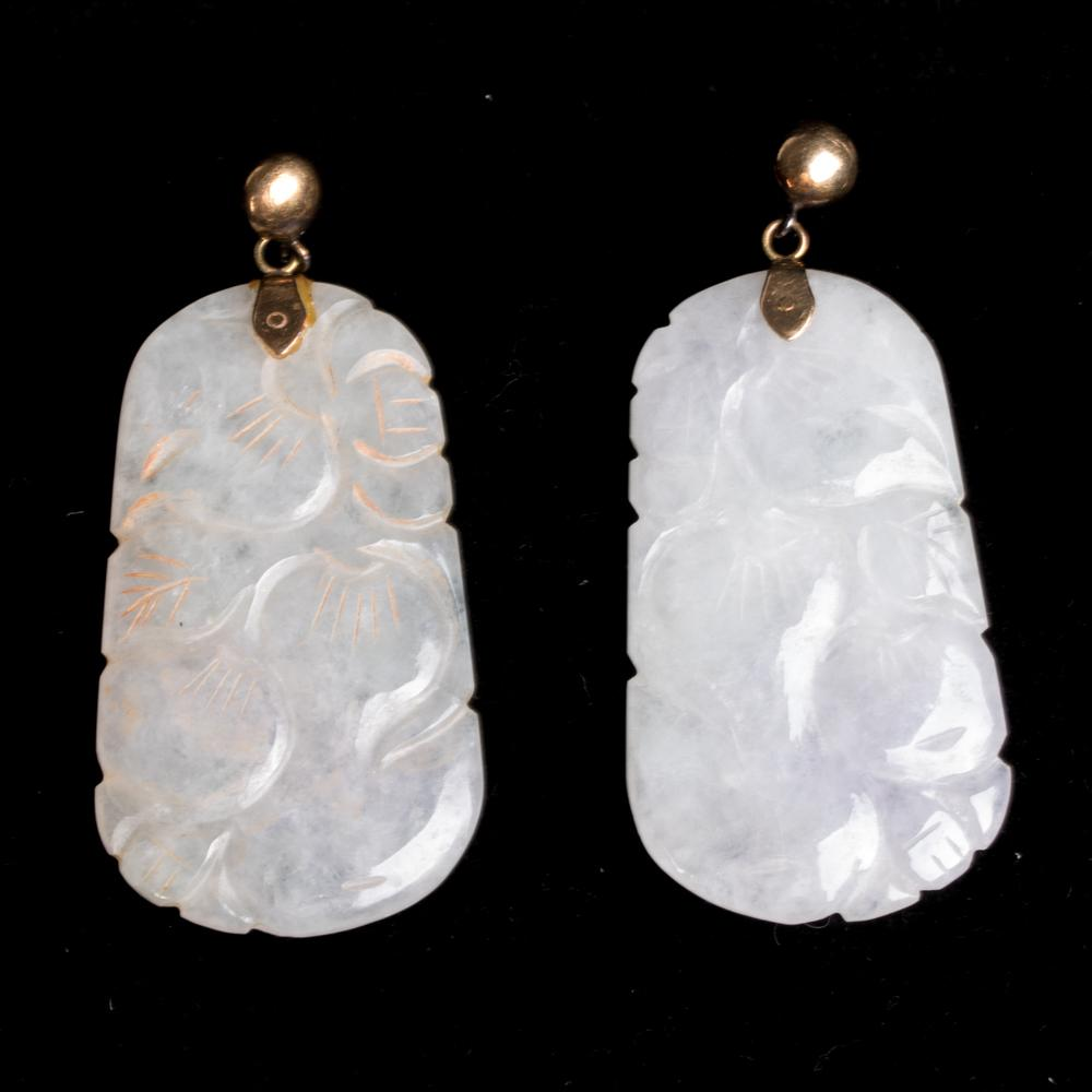Gold And Carved White Jade Earrings