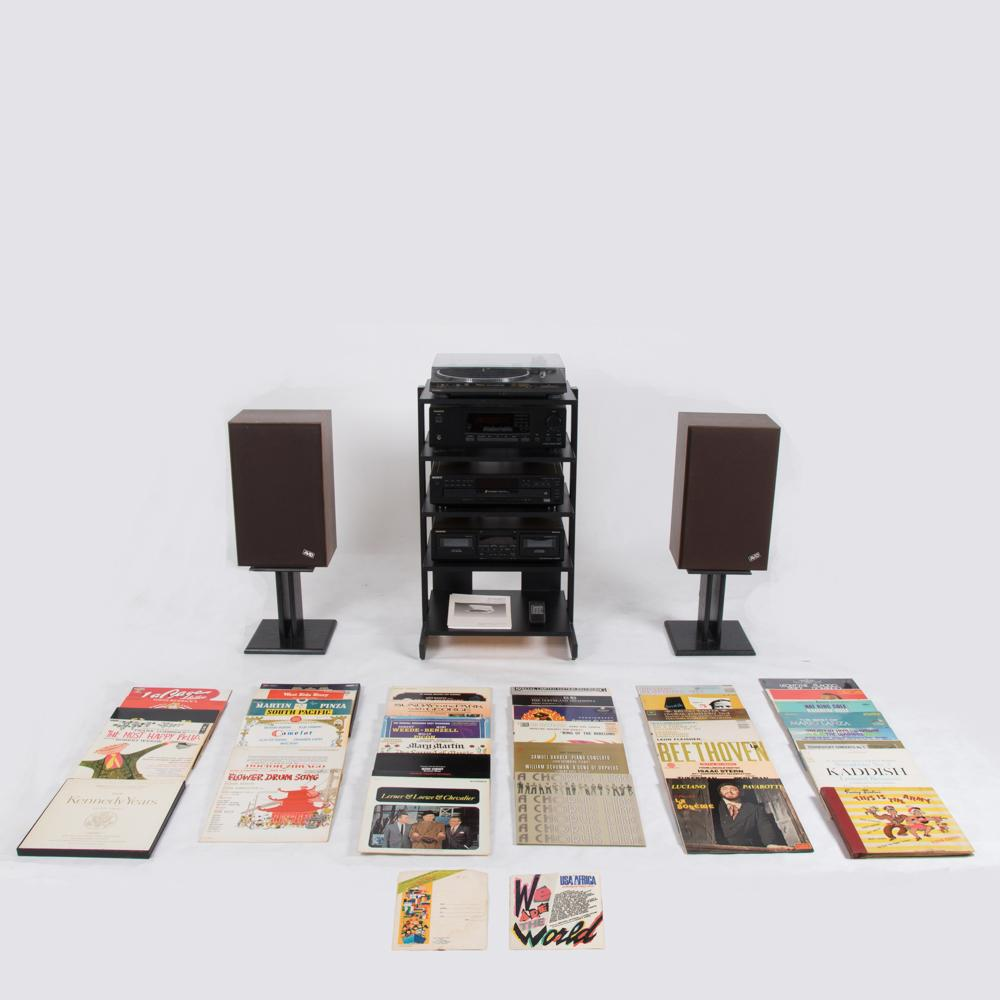 Vintage Six Piece Stereo Set on Stand
