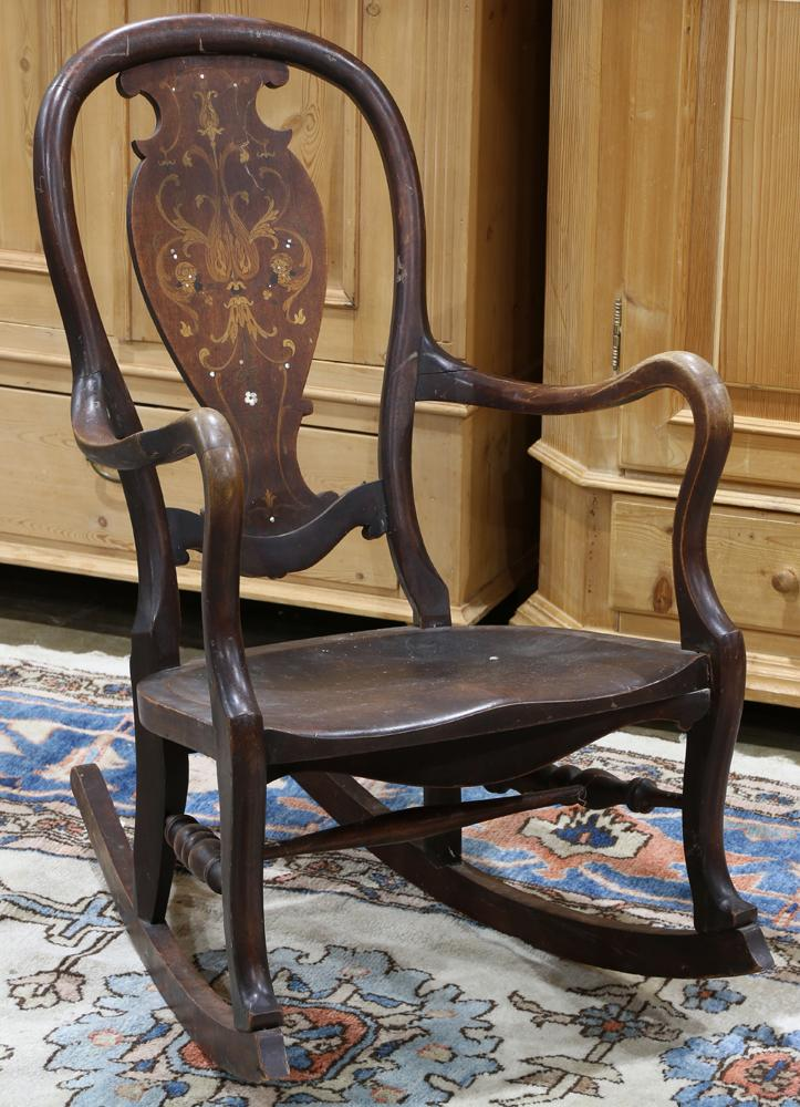Super Queen Anne Style Rocking Chair The Shaped Back Splat Having Inlaid Marquetry And Mother Of Pearl Accents 37 Gamerscity Chair Design For Home Gamerscityorg